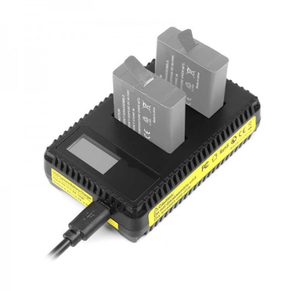 Зарядное устройство двойное для GoPro 5, 6, 7 с дисплеем