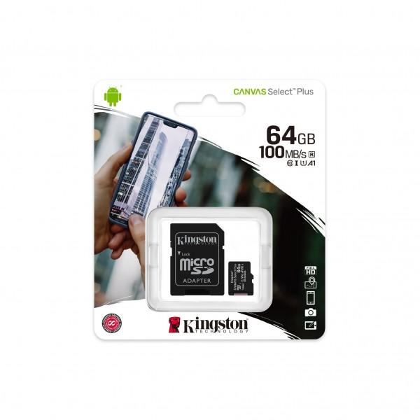Карта памяти 64Gb MicroSD SDHC Kingston A1 100Mb\s