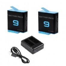 Набір: для GoPro Hero 9 Black зарядний пристрій + 2 акумулятора