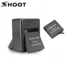 Набор: зарядное устройство + 2 аккумулятора для Xiaomi Yi 4k, 4k+, Lite