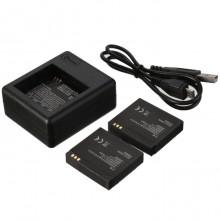 Набор: зарядное устройство + 2 аккумулятора для Xiaomi Yi Sport (AZ-13-1)